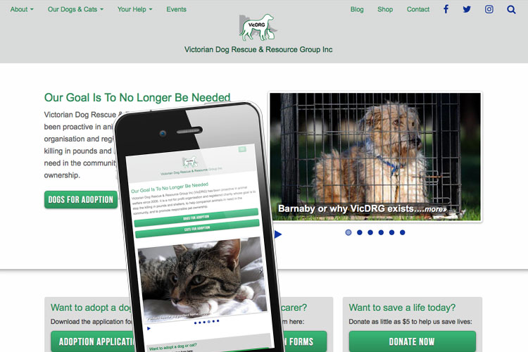 image of Victorian Dog Rescue website